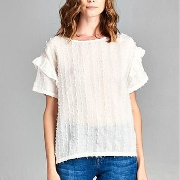 Textured Top, Off White
