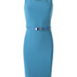 Womens Fitted Sleeveless Midi Dress with Faux Leather Belt