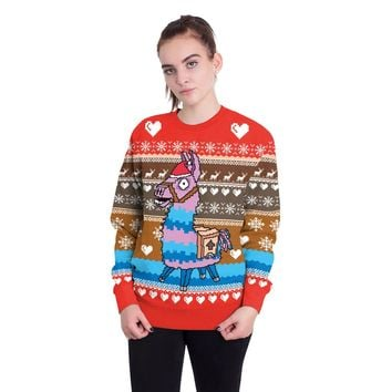 Cartoon Horse Print Women Scoop Christmas Sweatshirt