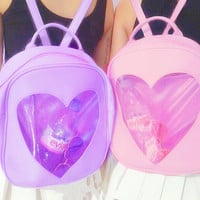 Transparent heart glitter pastel backpack