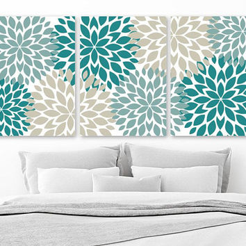 Flower Wall Art, Teal Beige Bedroom Wall Decor, Canvas or Prints, Teal Beige Bathroom Decor, Flower Pictures Set of 3, Floral Home Decor