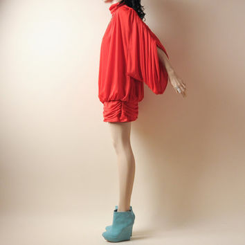 red grecian draped mini dress batwing jersey by persephonevintage