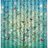 "66"" x 72"" Birds On The Life Tree Shower Curtain"
