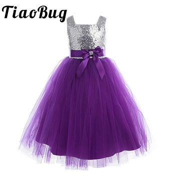 Tiaobug 2017 Tulle Tutu Bow New Arrival Summer Children Dress Flowers Girl Dress Sequined Party Princess  Ball Gown Dress