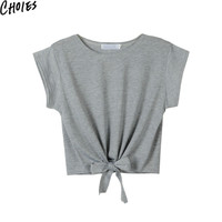 Women Gray And Black Tie Front Cap Sleeve Casual Sexy Crop Top Cotton T-shirt 2016 New Arrivals Summer Round Neck Plain Tops