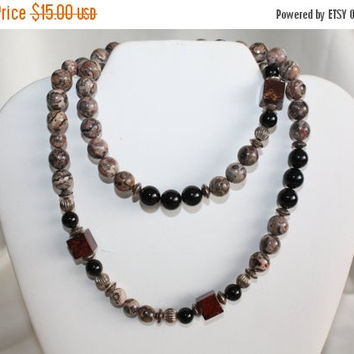 Valentines Sales Vintage Jasper Necklace Natural  Bead Stone 1970s Jewelry