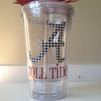 "Alabama Roll Tide Themed Double Wall Tumbler with Houndstooth Print ""A"""