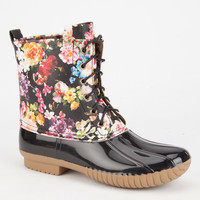 Adriana Dylan Womens Floral Duck Boots Multi  In Sizes
