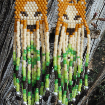 Brown and Green Dangling Beaded Wolf Earrings