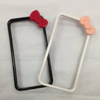 Hello Kitty Ribbon Bow Bumper Frame Plastic Case for Iphone 4/4s(super Saving Combo:buy 1 Get 1 Screen Protector+1 Cleaning Cloth +1 Touch Pen for Free)