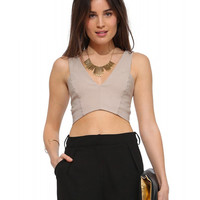 Sleeveless V-Neck Cut-Out Back Bodycon Cropped Top