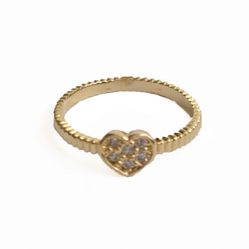 Crystal Heart Knuckle or Pinky Ring