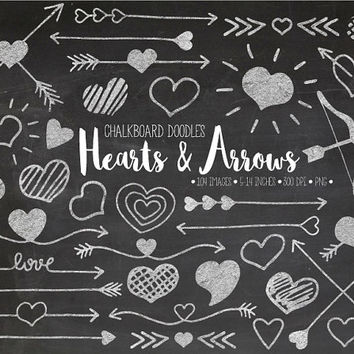 Chalk Hearts & Arrows Clip Art. Hand Drawn Doodle Arrows Clipart. Chalkboard Valentines Day, Mothers Day, Wedding, Love Illustrations (0009)
