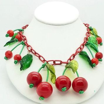 Cherry Bakelite Celluloid Necklace Green Glass Leaves