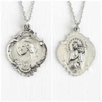 Vintage Sterling Silver Sacred Heart of Jesus & Lady of Mount Carmel Medal Necklace - Religious Double Sided Repousse Pendant Jewelry Charm