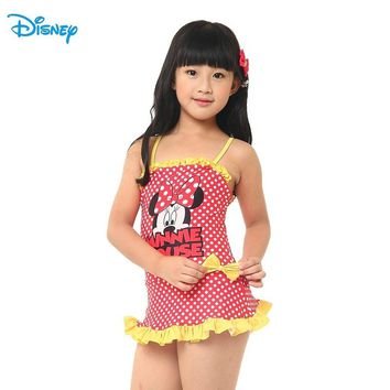 Disney Mickey Minnie Swimming One-Piece Suits Children Girl  Red Swim Dress Dot Kid Swimming Clothes  DEG32442-B