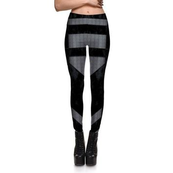 CREY6F Fashion Sexy Fitness Leggings Women Gothic Punk Rock Patchwork Black Grid Leggings Girls Skinny Plus Size Pencil Clothes