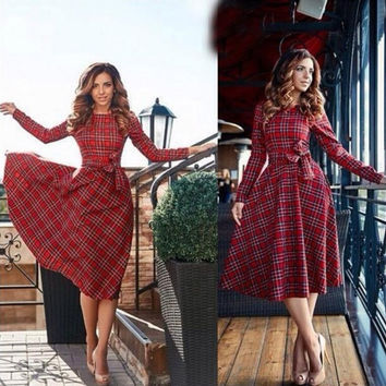 Red Plaid Long Sleeve Tunic Dress
