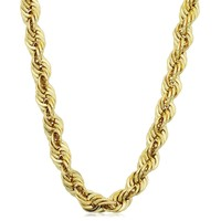 14K Yellow Gold Filled Solid Rope Chain Necklace, 6.0mm Wide