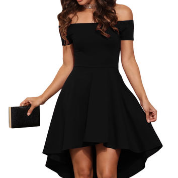 Black Shoulder Off All The Rage Skater Fit and Flare Dress