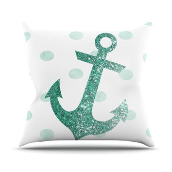 "Nika Martinez ""Glitter Anchor in Mint"" Teal Outdoor Throw Pillow"