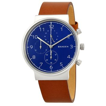 Skagen Ancher Blue Dial Mens Chronograph Leather Watch SKW6358