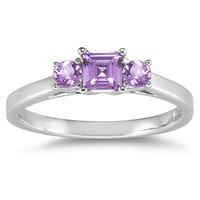 3 Stone Amethyst Ring 14K White Gold