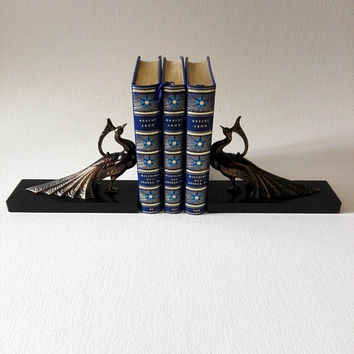 French antiques Peacock Bookends, Art deco, shabby chic, french decor, french style, french style, Peacock, french collectibles, metal birds