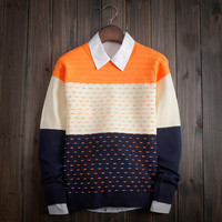 Slim Fitting Color Matching Men's Comfortable Knitted Sweater Knitwear