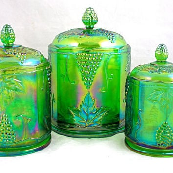 Vintage Indiana Glass Harvest Grape Lime Green by MaraGahans