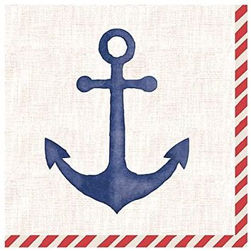 Block Print Anchor Party Napkins