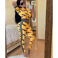 Fendi sexy women's print stitching two-piece suit yellow