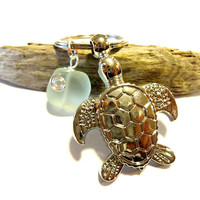 Cute Turtle and Sea Glass Keychain