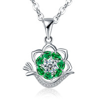 Gift New Arrival Stylish Shiny Jewelry Korean Accessory Simple Design Floral Style Crystal Pendant Necklace [4918319556]