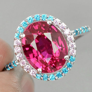 Fabulous AAA Cherry Pink Topaz with Blue Apatite & Pink Sapphire