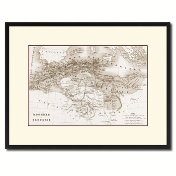 North Africa Barbary Coast Vintage Sepia Map Canvas Print, Picture Frame Gifts Home Decor Wall Art Decoration
