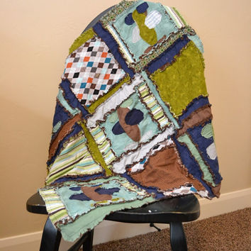 RAG QUILT, Applique Airplane, Baby Boy Blanket, Custom, Blue, Green, Brown, Vintage, Made to Order