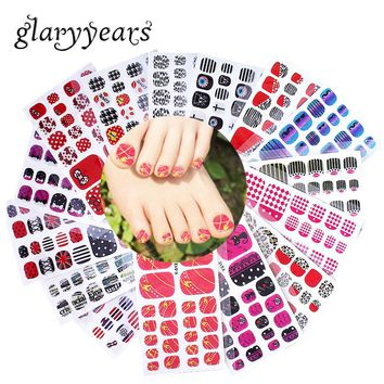 glaryyears 1 Sheet Full Cover Y Toe Nail Art Glitter Toenail Sticker Anchor Bow Tie Candy Sparkling Foot Decal Sexy Summer Style