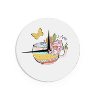"Jennifer Rizzo ""Tea Cup Vase"" Yellow Vintage Wall Clock"