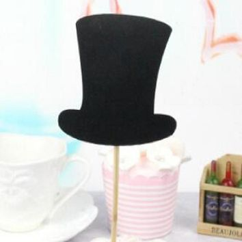 cake toppers glitter black bow tie hat paper cards banner for Cupcake Wrapper Baking Cup birthday tea party decor baby shower Wh