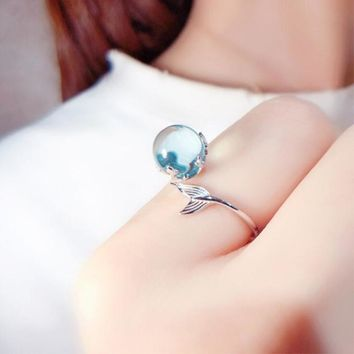 New Arrival Creative Mermaid Foam Gem 925 Sterling Silver Jewelry Personality Crystal Ball Fish Tail Opening Rings  SR163