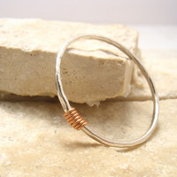Stacking Ring Hammered Silver with Copper