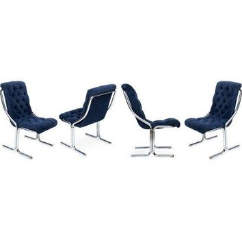 Pre-owned Vintage Navy Chrome Chairs - Set of 4