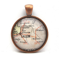 Vintage Map Pendant of Salem Oregon in Glass by CarpeDiemHandmade