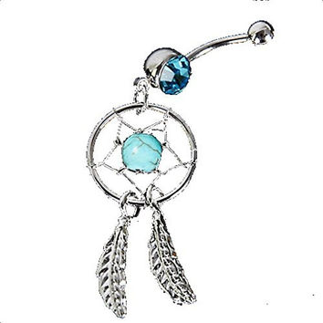 Indian Dream Catcher with Turqoise Colored Stone Belly Ring
