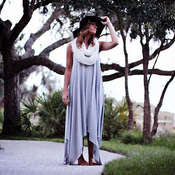 Gray dress, Boho syle summer sundress Stevie Nicks style, bohemian beach True rebel clothing