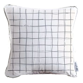 Checkered Grid Pattern Decorative Throw Pillow w/ Silver & White Reversible Sequins - COVER ONLY (Inserts Sold Separately)