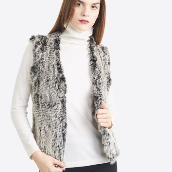 Astra Knitted Rabbit Fur Vest