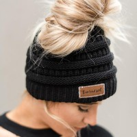 Messy Bun Knitted Beanie Hat - Black