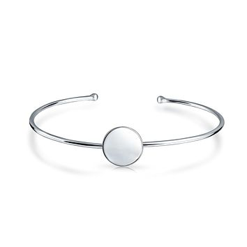 Thin Oval Disc Bangle Cuff Bracelet High 925 Sterling Silver
